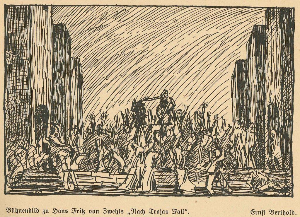 Bühnenbild zu H. F. von Zwehl, Nach Trojas Fall (Quelle Jahrbuch des Schlosspark-Theaters 1924)