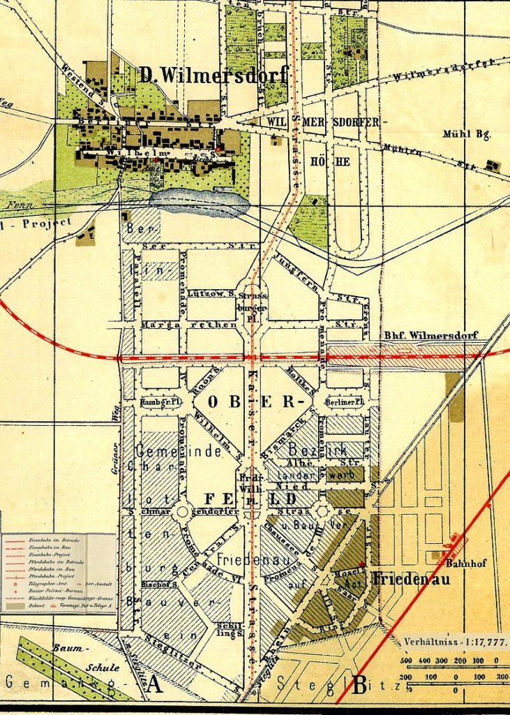 Karte Friedenau | Altes Dorf und Reißbrettplanung 1877 | Gemeinfrei